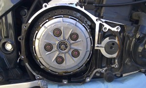 Inside the crankcase of a 2005 Kawasaki Ninja 500.