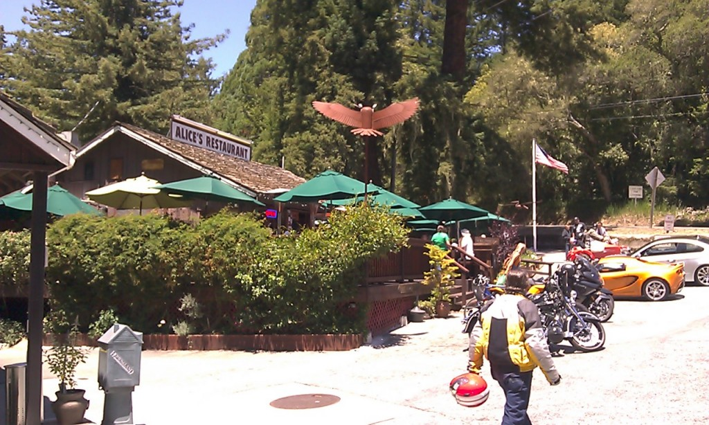Stopping for lunch at Alice's Restaurant on Skyline Blvd.