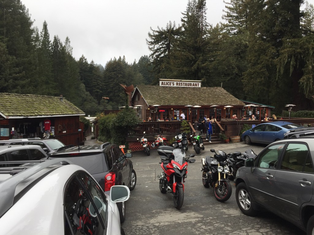 Alice's Restaurant on Skyline Blvd., Woodside, CA, not the same as the Arlo Guthrie song.